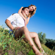 Couple outdoors on a summers day — Stock Photo