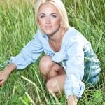 Girl on green grass — Stock Photo #1234121