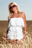 Woman in white dress — Stock Photo