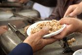 Point de livraison de repas de bienfaisance. — Photo