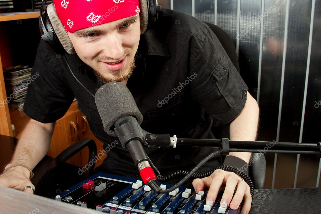 The leader of studio of broadcasting popular FM radio programs  Stock Photo #1219572