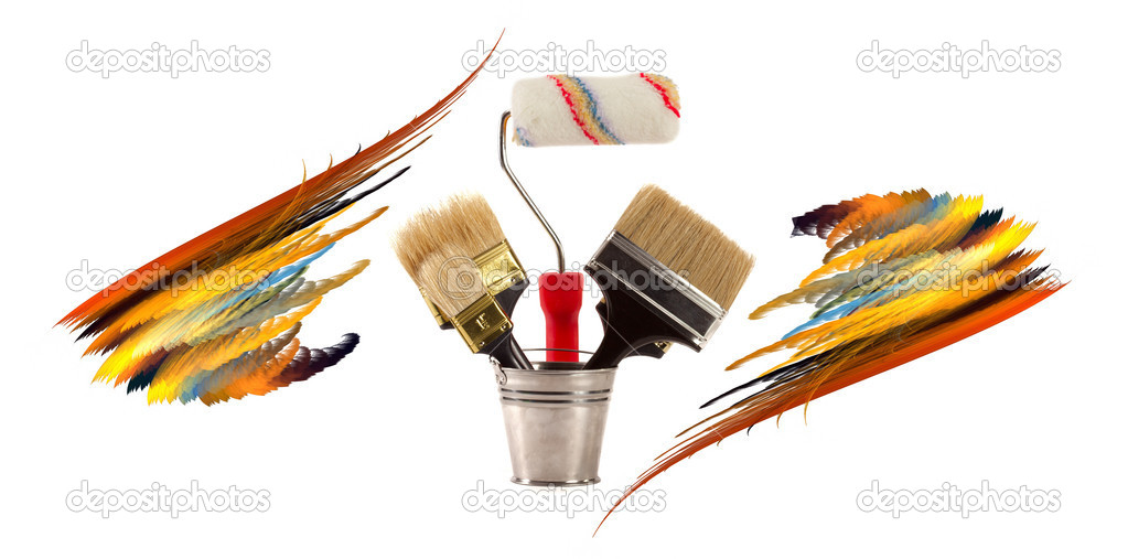 Complete set of brushes for painting an interior in the house — Stock Photo #1532821