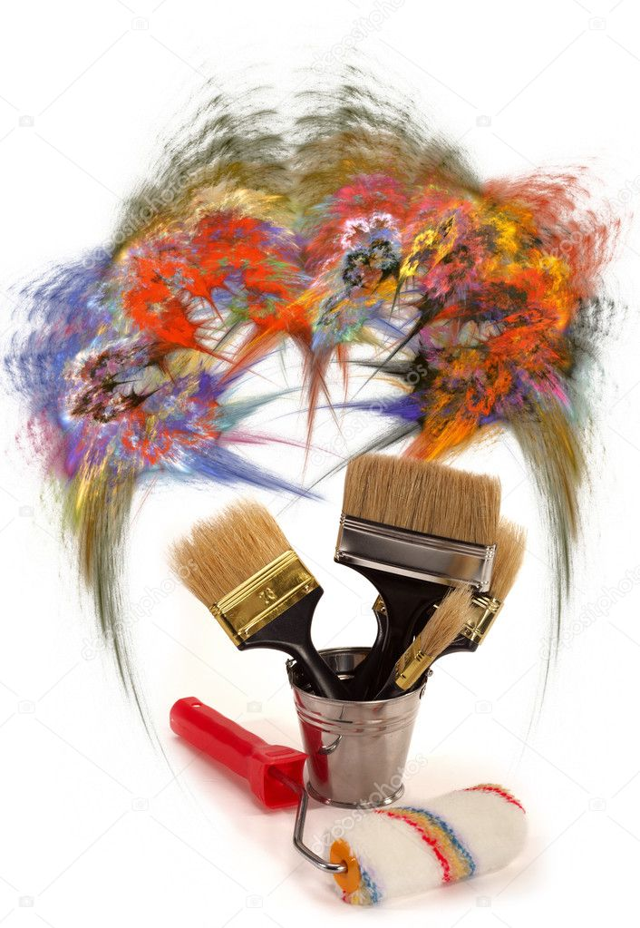 Complete set of brushes for painting an interior in the house — Stock Photo #1532832