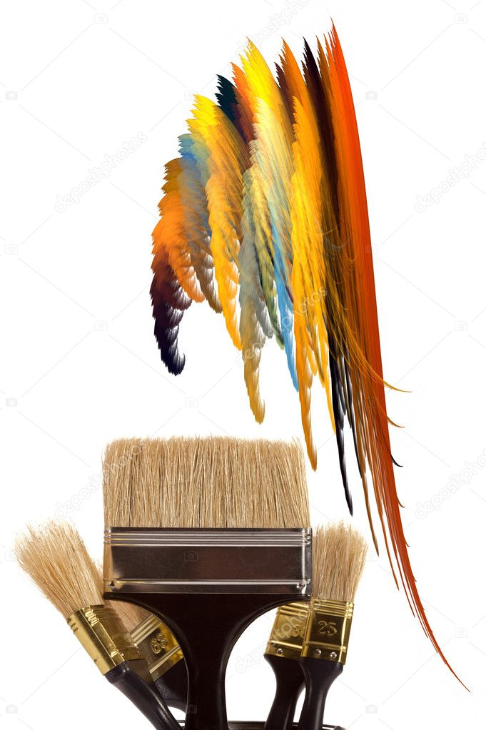 Complete set of brushes for painting an interior in the house — Stock Photo #1532868