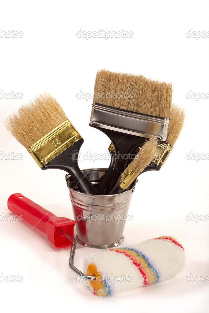 Complete set of brushes for painting an interior in the house — Stok fotoğraf #1532922
