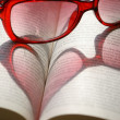 Heart on book — Stock Photo