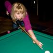 Girl playing pool — Stock Photo