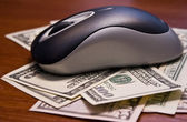 Computer mouse and money — Stock Photo