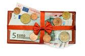 Usd dollar bill euro coin — Stock Photo