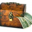 Treasure chest and dollars — Stock Photo