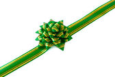 Gift ribbon and green bow — Stock fotografie