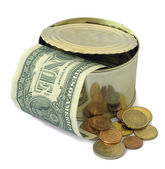 Dollars and euro coins — Stock Photo