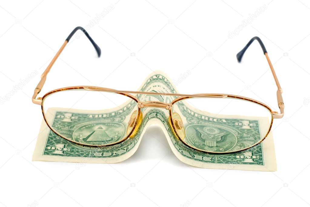 Spectacles dollar success pension close-up isolated on white background  Stock Photo #1191724