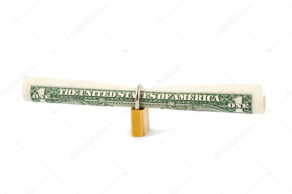 Protection dollar in golden lock close-up isolated on white background — Stock Photo #1193431