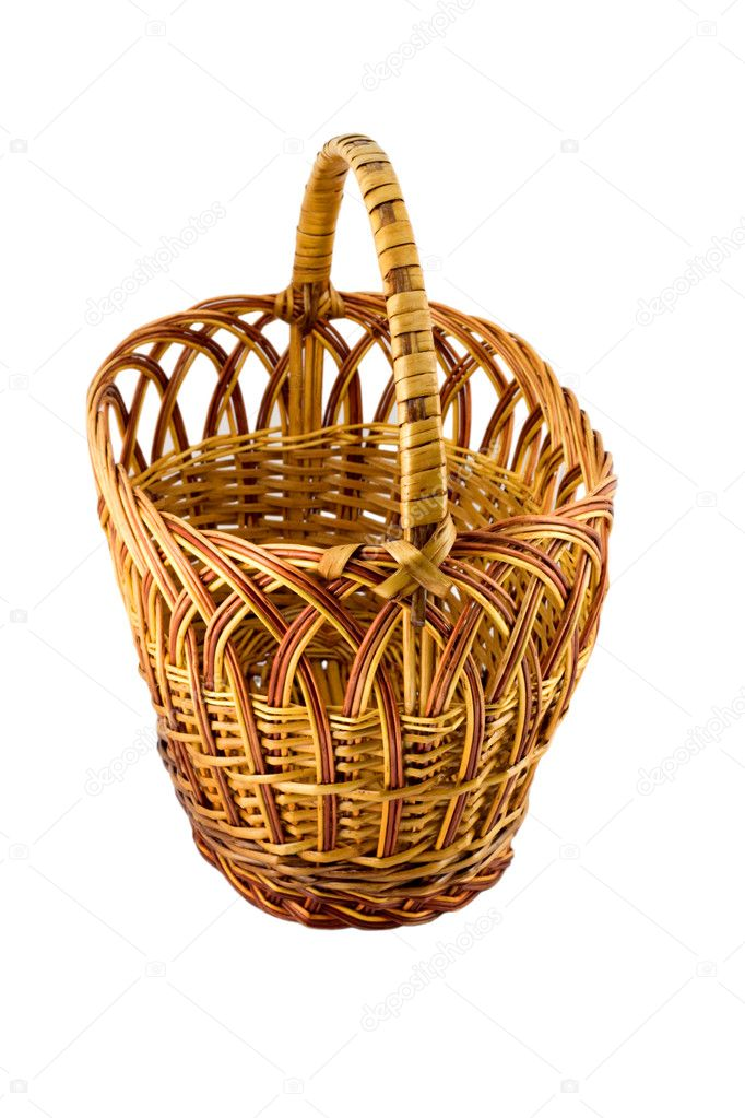 Buy wicker basket close-up isolated on white background — Stock Photo #1194391