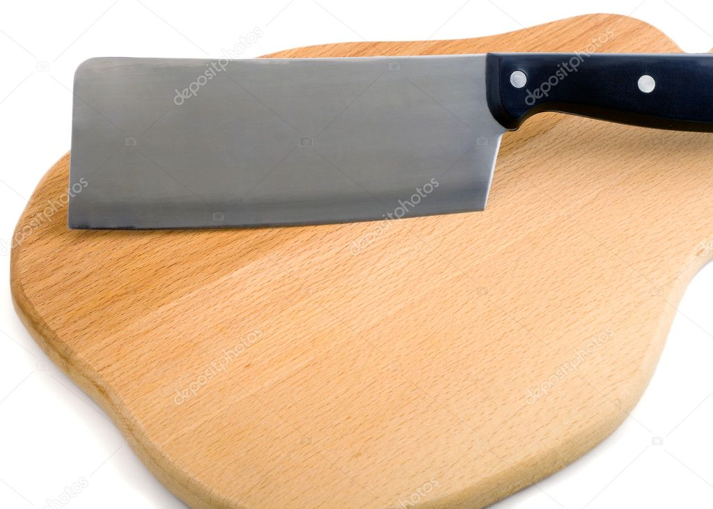 Cutting board and cleaver , isolated on white background. — Stock Photo #1194455