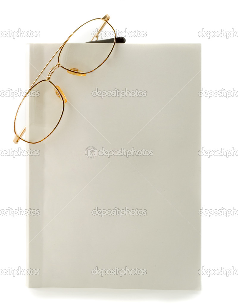 Blank white book spectacles close-up isolated on white background  Stock Photo #1195936
