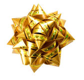 Gift golden bow isolated on white backg — Stock Photo