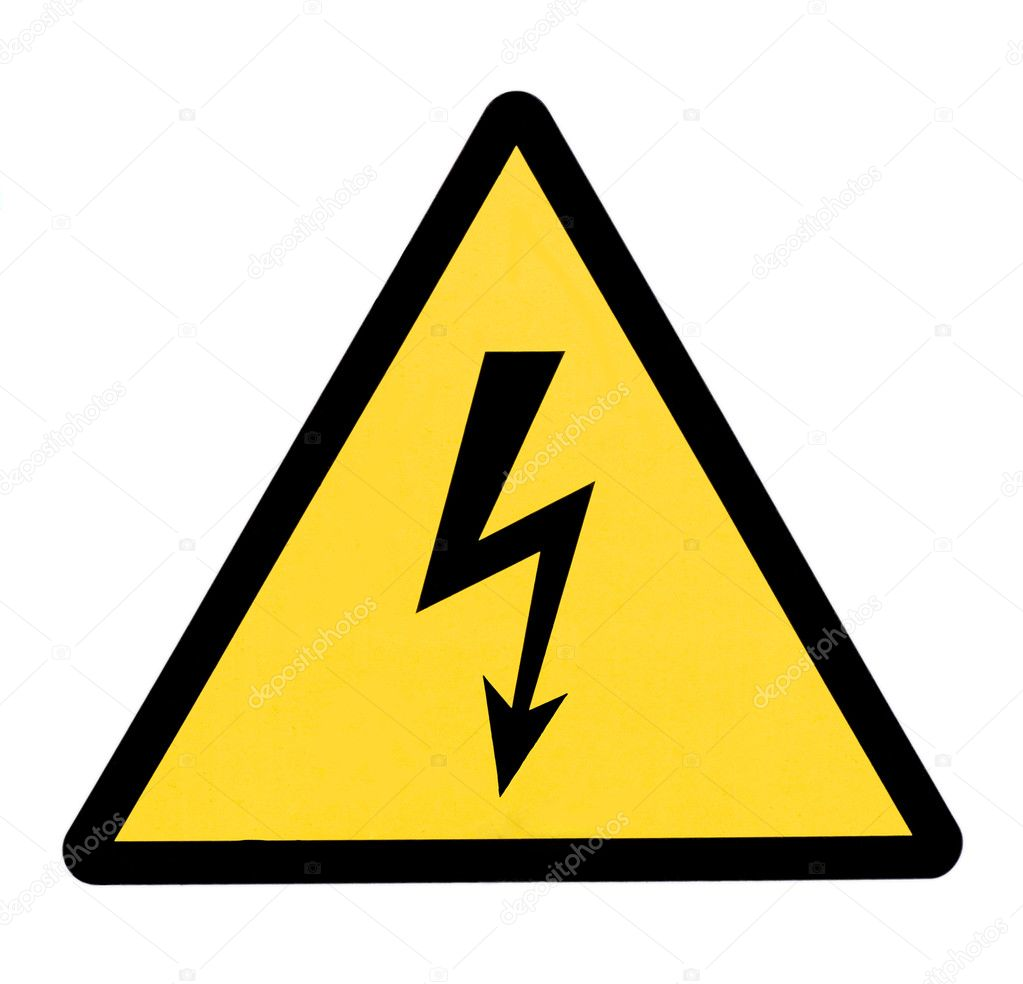 High voltage sign,isolated in white background. — Stock Photo #1209035