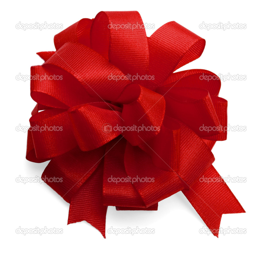 Red satin bow isolated on white background. — Stock Photo #1209713
