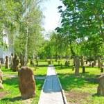 Ancient stone idols sculpture park — Stock Photo