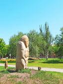 The Stone Warrior. Ancient Slavian idol. — Stock Photo