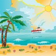 Stock Vector: Sunny beach with palms and shells