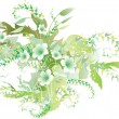 Stock Vector: Delicate green flowers