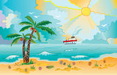 Sunny beach with palms and shells — Stock Vector