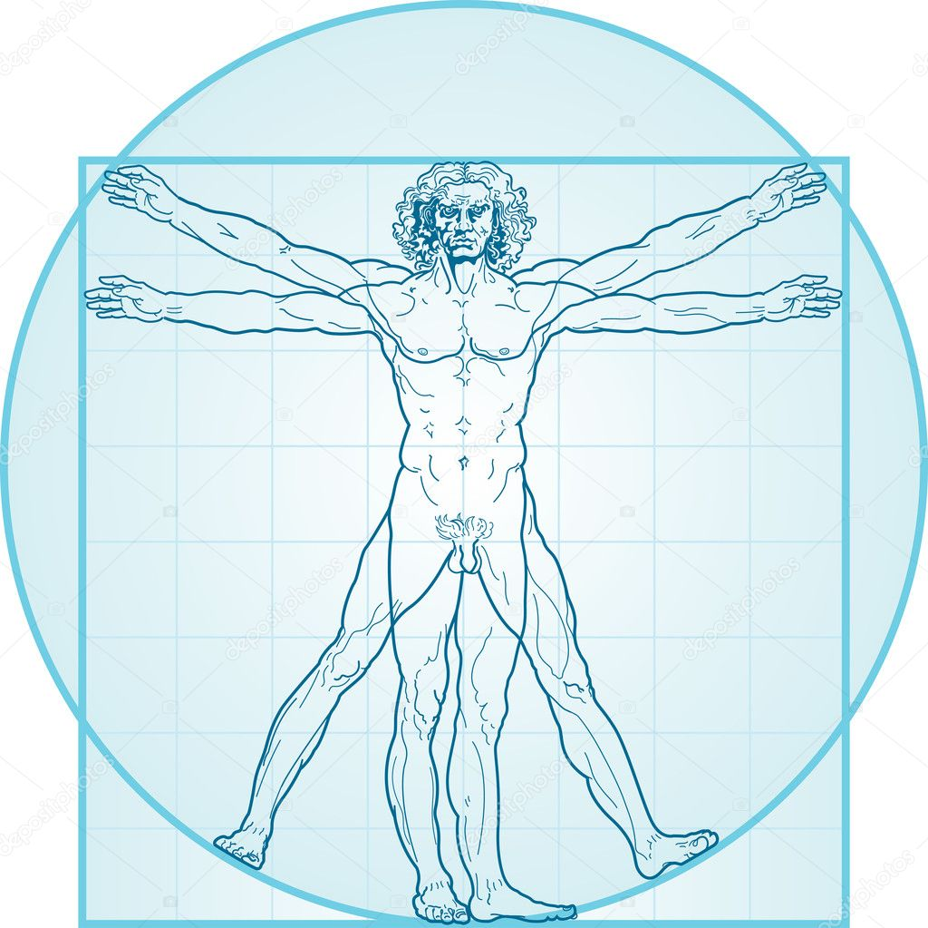 The Vitruvian man, or so called Leonardo da Vinci man. Detailed drawing. Blue version.  — Stock Vector #1544843