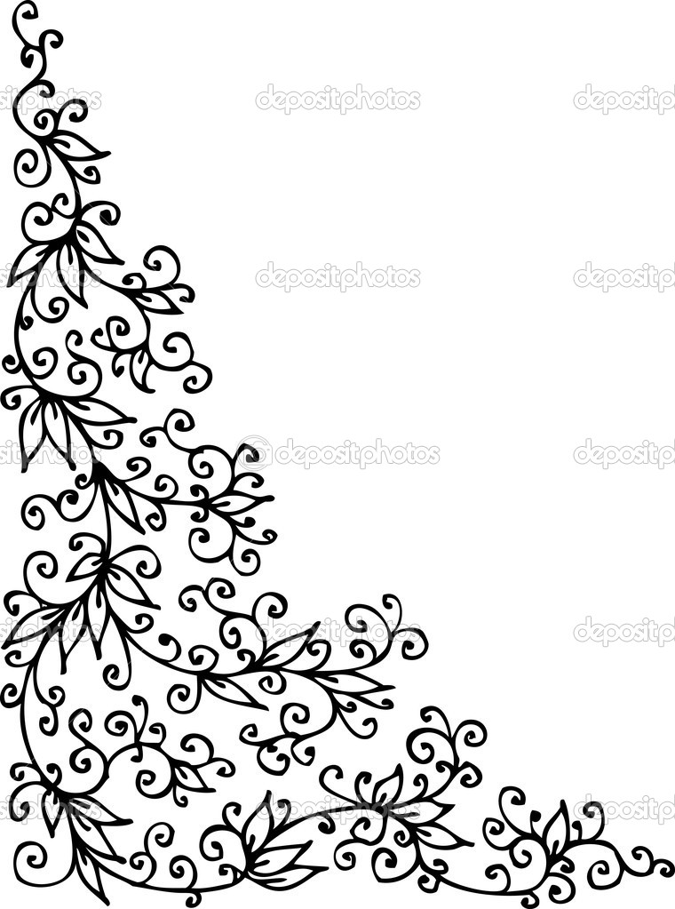 Refined floral vignette. Eau-forte black-and-white swirl decorative vector illustration. — Stock Vector #2266314