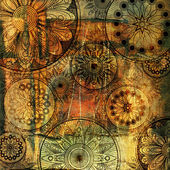 Patrón de arte floral grunge fondo — Foto de Stock