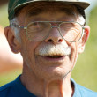 Face portrait of old man with glasses — Stock Photo