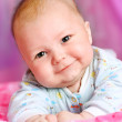 Baby on pink background — Stock Photo
