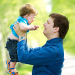 Stock Photo: Father and son in the park