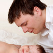 Royalty-Free Stock Photo: Sleeping baby and father