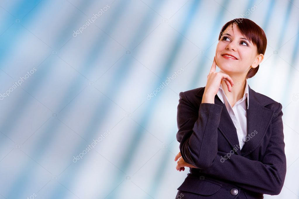 Portrait of beautiful businesswoman on blue background — Stock Photo #1176588