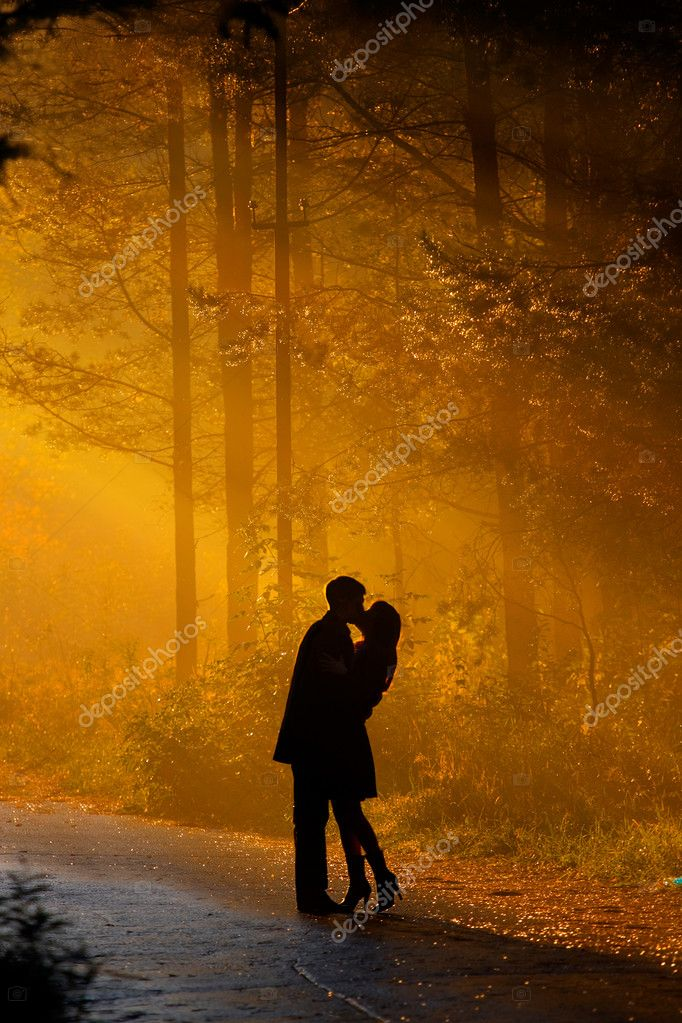 Beautiful shot of kissing couple in the sunlight — Photo #1178046