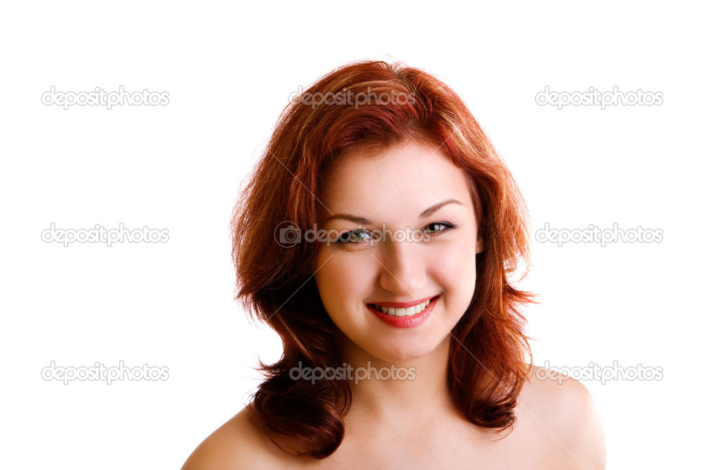 Portrait of beautiful redheaded girl on white background — Stock Photo #1179129