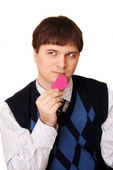 Young man with valentine — Stock Photo