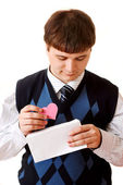 Young man sell a valentine — Stock Photo
