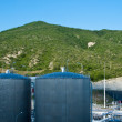 Fuel repositiry near port terminal - Stock Photo