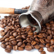 Coffeepot and coffee beans. — Stock Photo