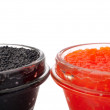 Stock Photo: Red and black caviar in glass jars