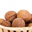 Walnuts in a basket — Stock Photo