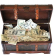 Full of money wooden chest — Foto Stock
