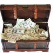 Full of money wooden chest - Stock Photo