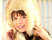 Beauty in fur hat — Stock Photo