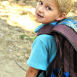 Schoolboy with backpack — Stock Photo