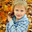 Schoolboy in fall time — Stock Photo #1437972
